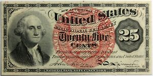 25 Cents Washington 4th Issue Fractional Currency Note Large Red Seal FR-1302