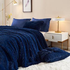 Warm Fluffy Faux Fur Velvet Duvet Cover Set Quilt Cover Set with Pillowcases