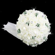 Wedding Bouquet Bridal Bridesmaid Artificial Flower Rose Posy Ivory