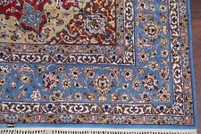 Masterpiece Wool/Silk 400 Knots Signed Isfahaan Area Rug Vegetable Dye 7'x10'