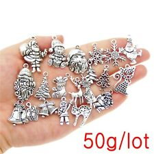 50g  Mix Lot Christmas Series Silver Metal Charms Pendants Jewelry Accessories