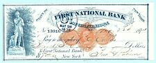 1873 COOPERSTOWN NY FIRST NAT BANK CHECK 2¢ REVENUE STAMP LEATHERSTOCKING STATUE