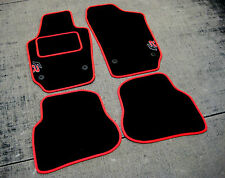Black/Red Car Mats to fit Seat Ibiza 6J LHD (2008-2017) + FR Logos + Carpet Pad
