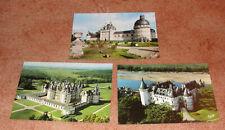 Châteaux de La Loire lot de 3 cartes postales de collection TBE vierges