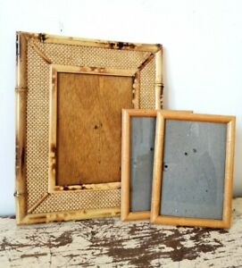 Three Vintage Mid Century Bamboo And Wood 6 x 4 and 7 x 5 inch Picture Frames