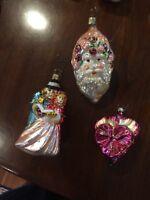 3 Inge Old World Christmas Pink Ornaments Rose Santa, Dickens Carolers, Pansy