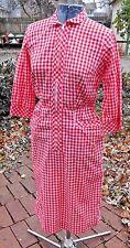 VINTAGE 1960's SEARS ROCKABILLY PENCIL DRESS W RED AND WHITE CHECKS SZ SMALL