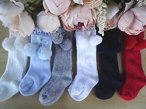 Baby Knee High Ankle White Red Grey Blue Navy Cream Beige Pom Pom Socks 0-6-24m
