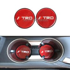 2Pcs TRD Red Carbon Fiber Car Cup Holder Pad Water Cup Slot Non-Slip Mat