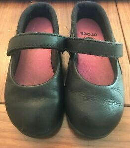 Crocs Girls C9 Mary Jane Black hook and loop leather mary janes school uniform