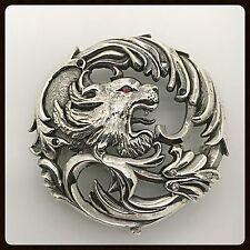Handmade Lion Silver Buckle, Retro SOA Love Biker Rock