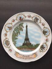 """Vintage Paris Eiffel Tower Souvenir Collectors Plate 10"""" Diameter"""