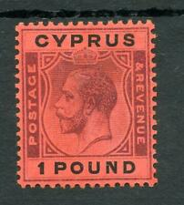Cyprus 1924-28 £1 purple and black on red SG102 fine MM cat £300