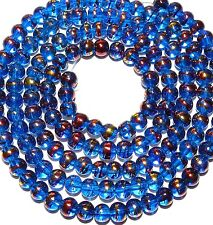 GX2283 10-Strand Dark Blue 6mm Round Metallic Drawbench Swirl Glass (1350 Beads)