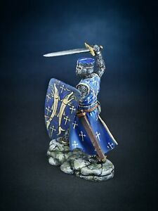 Hand Painted Figures Toy Medieval 1/32 Knight in battle Tin Metal Soldiers 54mm