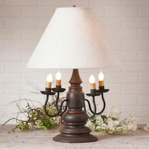 Harrison new Table Lamp in Americana Espresso with Linen Shade