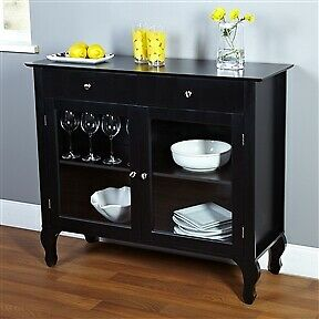 Black Dining Room Buffet Sideboard Server Cabinet with 2 Glass Doors,2 Drawers