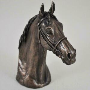 David Geenty Thoroughbred Horse Head Bronze Sculpture