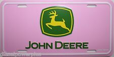 John Deere tractor farm tag license plate deer dear green pink field girl ladies