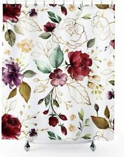 Pretty Watercolor Floral Chic Red Purple Farmhouse Fabric Shower Curtain + Hooks