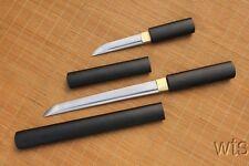 Japanese Sharp Hand Forged Matt Black Duo Shirasaya Tanto Daggers Swords