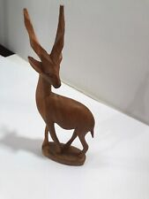 Hand-Carved Wooden ANTELOPE GAZELLE Impala AFRICAN Sculpture Carving Figure