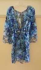 NWT Gottex Silk Swimsuit Coverup Dress Animal Print Blue M