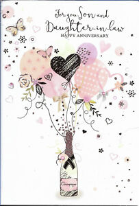 """SON AND DAUGHTER IN LAW ANNIVERSARY GREETING CARD 7""""X5"""" TRADITIONAL FREE P&P"""