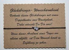 Wunscharmband make a wish Armband Glücksarmband Glücksbringer Herz Rund Braun