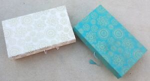 """BOXES 2 x Ornate Divided Storage Green Beige & Gold Circular Designs 10 x 6 x 2"""""""