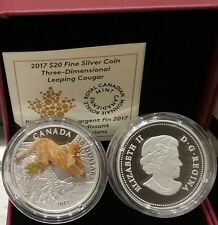 2017 Cougar Leaping Canada Cat $20 1OZ Pure Silver Three-Dimensional Proof Coin