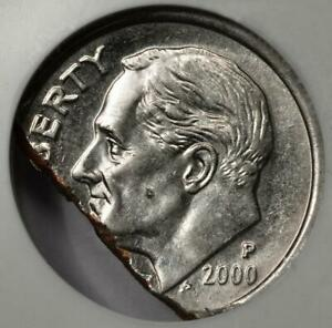 2000 NGC MS63 25% Ragged Clip Dime Mint Error Great Eye Appeal