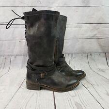 Bed Stu Womens Paros Mid Calf Boots Sz 6.5 Black Leather