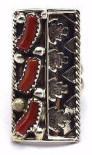 Native American Navajo Handmade Sterling Silver Coral Ring - RMS