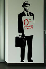 Banksy Art ' 0% Interest In People ' Large Vinyl Wall Stickers HIGHEST QUALITY