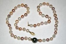 """14K PEARL PASTEL FRESHWATER & BLACK TAHITIAN PEARL GOLD BEAD NECKLACE 18""""L  a"""