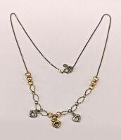 99825352 Bicolor 925er Silber Collier mit Herzen teils vergoldet