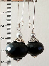 Silver tone earrings with natural black agate and miyuki pearls