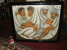 African Acrylic Painting On Canvas-Signed Merla-Men & Women Staring-Modernist