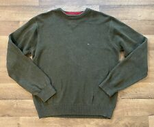 Tommy Hilfiger Men's Crew Neck Pullover Sweater - Large - Green - 100% Cotton