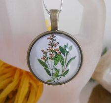 Ketten Anhänger Blume Gräser Glas Cabochon 25 mm - Amulett rund bronce