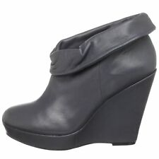 KELSI DAGGER SHOES WILMA CUFFED WEDGE PLATFORM BOOTIES GRAY LEATHER ANKLE BOOT 8