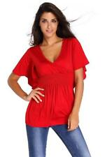 Red V-Neck Short Batwing Sleeve High Elastic Waist Blouse Size S