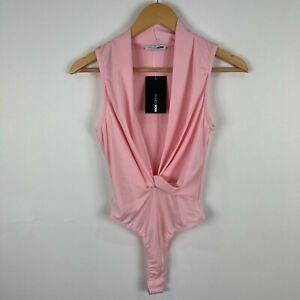 Fashion Nova Womens Bodysuit Size S Small Pink Sleeveless V-Neck Bodycon 207.20