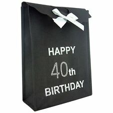 40th Happy Birthday Black Gift Bag NEW