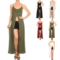 Solid Spaghetti Strap Scoop Neck Top with Inner Crop Top and Side Slits S M L