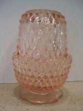 Vintage Indiana Glass Company Diamond Point Design Pink Fairy Lamp
