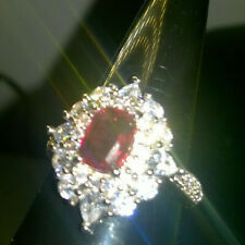 LARGE STATEMENT RUBY RED + WHITE GEMS CLUSTER RING SIZE T 1/2.. SALE REDUCED