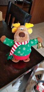 Christmas Walking Reindeer Battery Operated Animated Vintage RINGS BELL WORKS