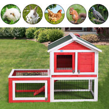 """53"""" Wooden Rabbit House Hutch Chicken Coop Bunny Small Animal Cage w/ Tray Run"""